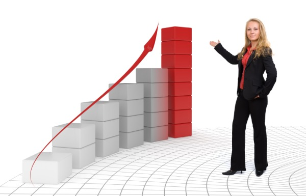 Proud business woman presenting her success - Isolated